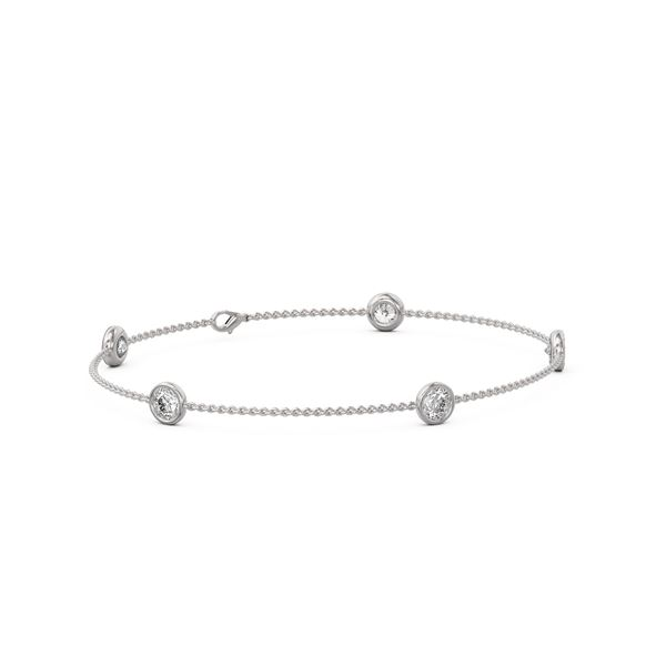 1.65 ctw Diamond Station Bracelet 18K White Gold - REF-248K9Y