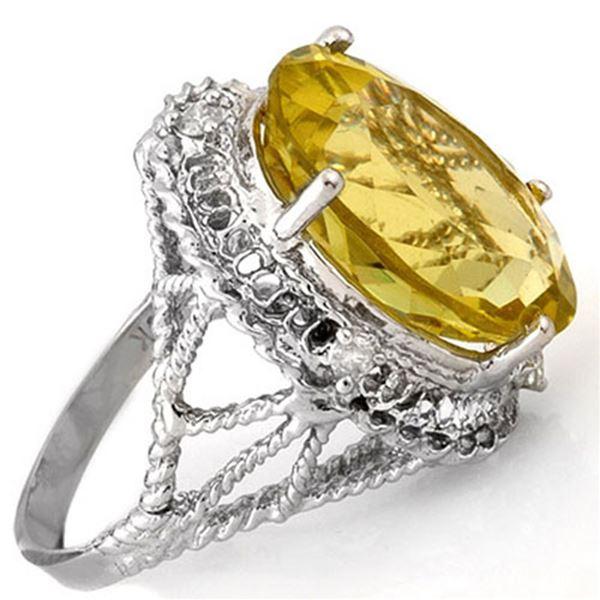 16.15 ctw Lemon Topaz & Diamond Ring 10k White Gold - REF-49K3Y
