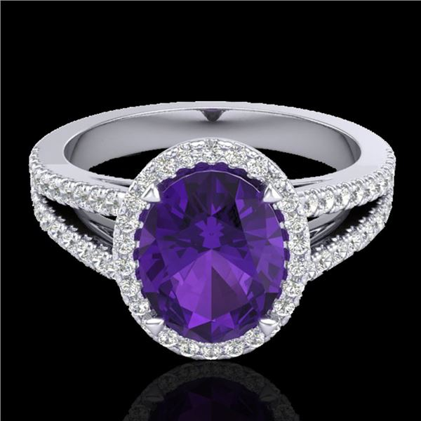 3 ctw Amethyst & Micro VS/SI Diamond Halo Ring 18k White Gold - REF-52R4K