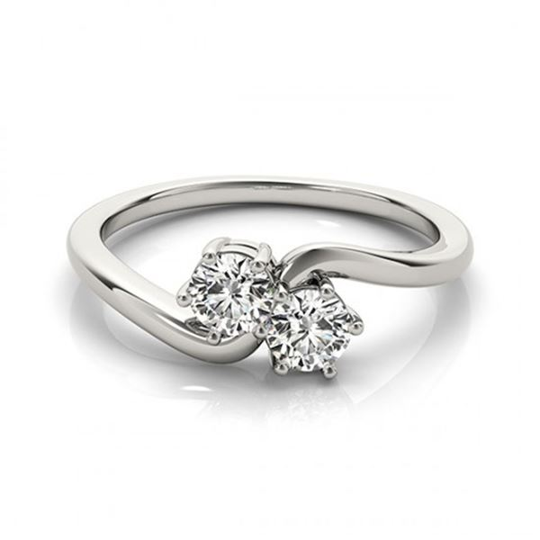 0.75 ctw VS/SI Diamond 2 Stone 2 Stone Ring 18k White Gold - REF-89A5N