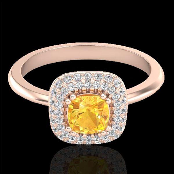 1.16 ctw Citrine & Micro VS/SI Diamond Ring Halo 14k Rose Gold - REF-44A8N