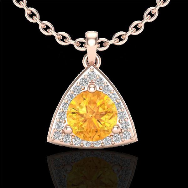 1.50 ctw Citrine & Micro Pave VS/SI Diamond Necklace 14k Rose Gold - REF-25F9M