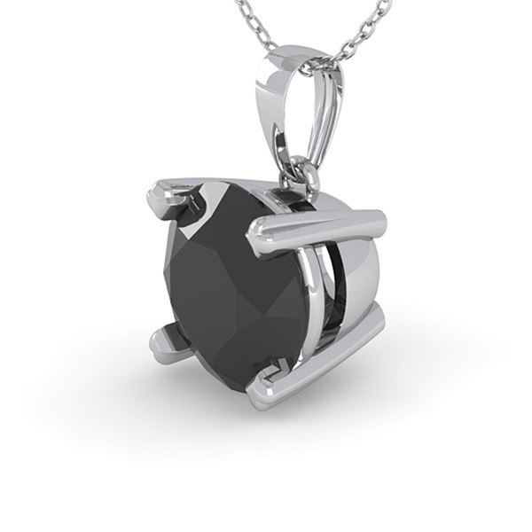1 ctw Black Diamond Designer Necklace 18k White Gold - REF-35R3K