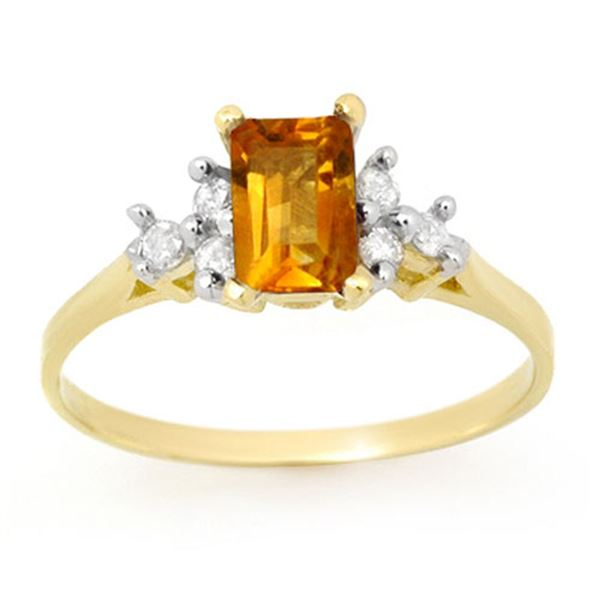 1.14 ctw Citrine & Diamond Ring 10k Yellow Gold - REF-10G2W