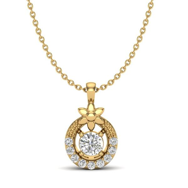 0.21 ctw Micro Pave VS/SI Diamond Certified Necklace 18k Yellow Gold - REF-19R8K