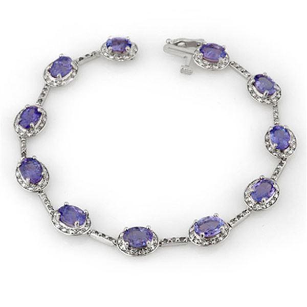 11.40 ctw Tanzanite & Diamond Bracelet 10k White Gold - REF-125F5M