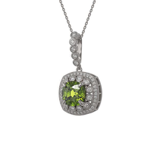 7.08 ctw Tourmaline & Diamond Victorian Necklace 14K White Gold - REF-209M3G