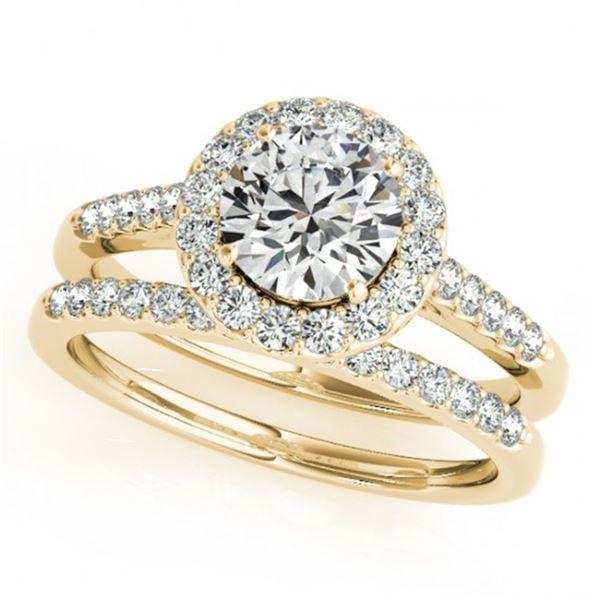 0.96 ctw Certified VS/SI Diamond 2pc Wedding Set Halo 14k Yellow Gold - REF-105X3A