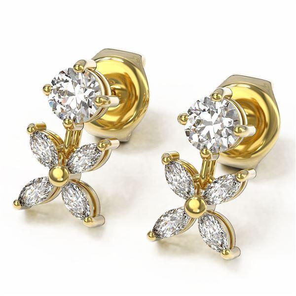 1.5 ctw Marquise Cut Diamond Designer Earrings 18K Yellow Gold - REF-197M8G