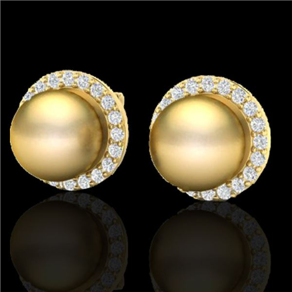 0.50 ctw Micro Pave Diamond & Golden Pearl Earrings 18k Yellow Gold - REF-46W5H