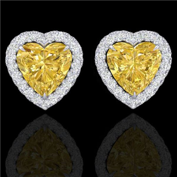 2 ctw Citrine & Micro Pave VS/SI Diamond EARRRING Heart 14k White Gold - REF-38A2N