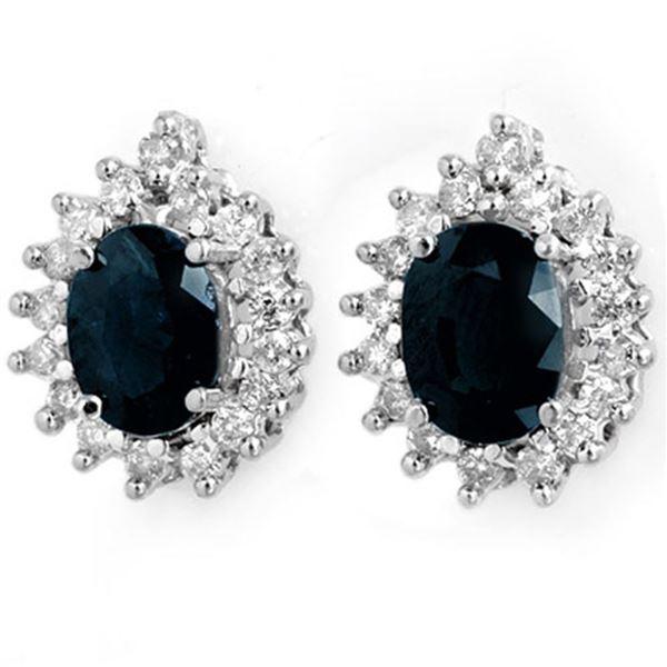 3.87 ctw Blue Sapphire & Diamond Earrings 14k White Gold - REF-89M3G