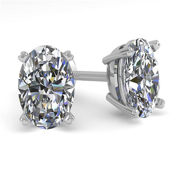 1.0 ctw Oval Cut VS/SI Diamond Stud Designer Earrings 18k White Gold - REF-121Y5X
