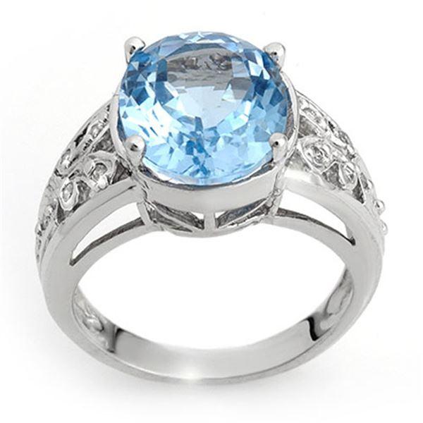 7.15 ctw Blue Topaz & Diamond Ring 10k White Gold - REF-28X9A