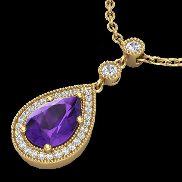 2.25 ctw Amethyst & Micro Pave VS/SI Diamond Necklace 18k Yellow Gold - REF-38Y8X