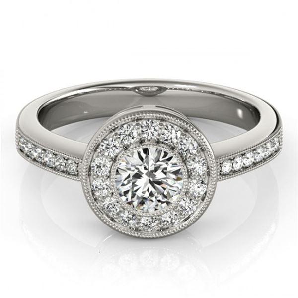 0.8 ctw Certified VS/SI Diamond Halo Ring 18k White Gold - REF-97R8K