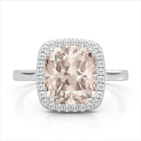 3 ctw Morganite & Micro Pave VS/SI Diamond Halo Ring 18k White Gold - REF-55N8F