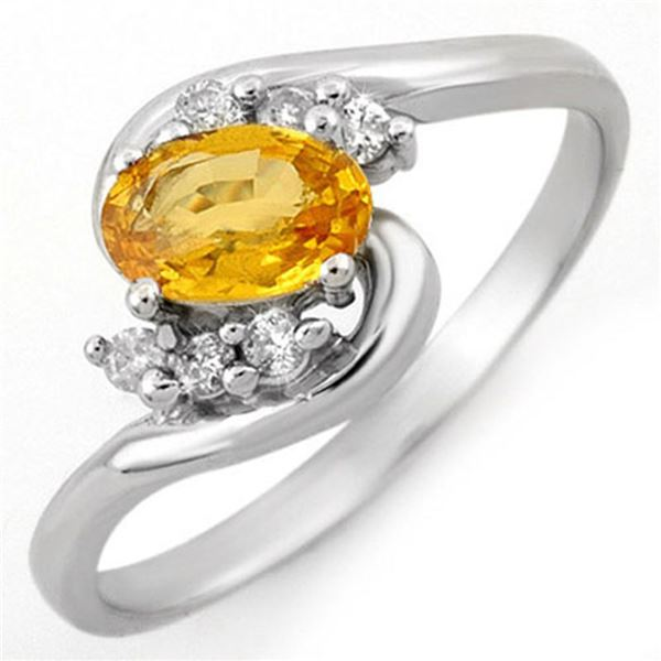 0.70 ctw Yellow Sapphire & Diamond Ring 14k White Gold - REF-18Y5X