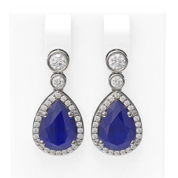 3.1 ctw Sapphire & Diamond Earrings 18K White Gold - REF-134M2G