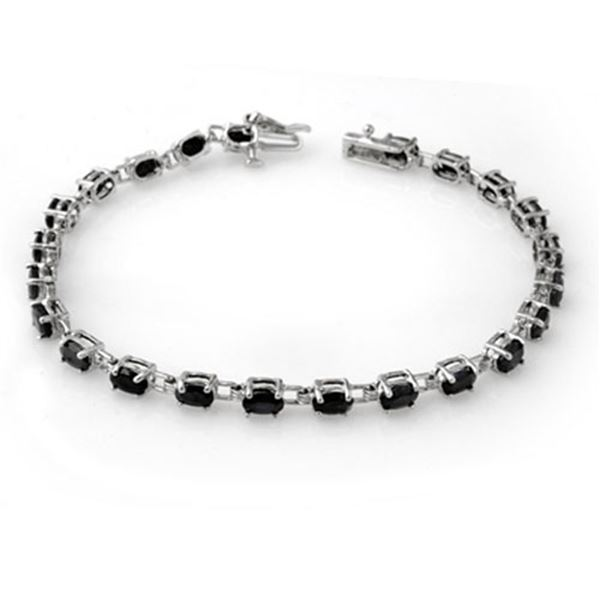 9.10 ctw Blue Sapphire Bracelet 14k White Gold - REF-79F3M