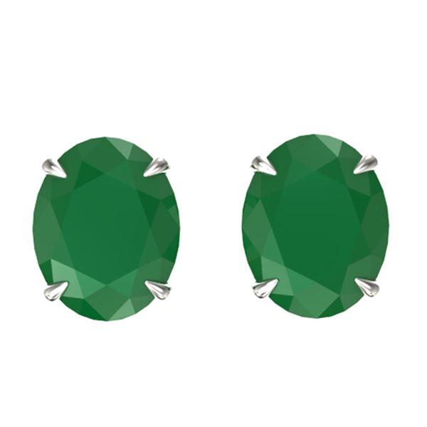 7 ctw Emerald Designer Stud Earrings 18k White Gold - REF-55W2H
