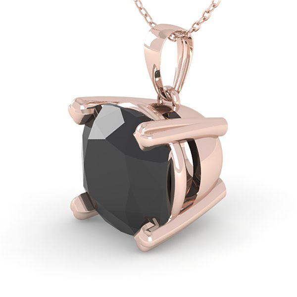 3 ctw Cushion Black Diamond Designer Necklace 18k Rose Gold - REF-84Y2X