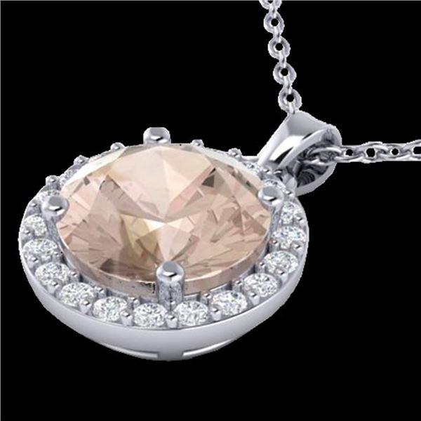 1.75 ctw Morganite & Halo VS/SI Diamond Micro Necklace 18k White Gold - REF-45Y4X