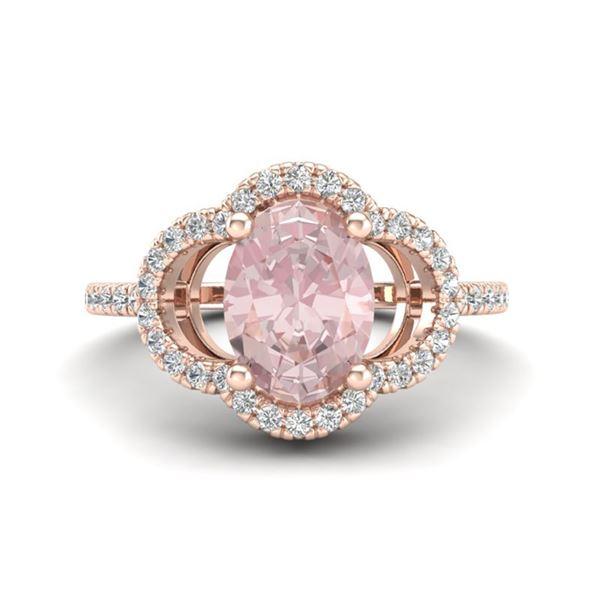 1.75 ctw Morganite & Micro Pave VS/SI Diamond Ring 10k Rose Gold - REF-40R9K