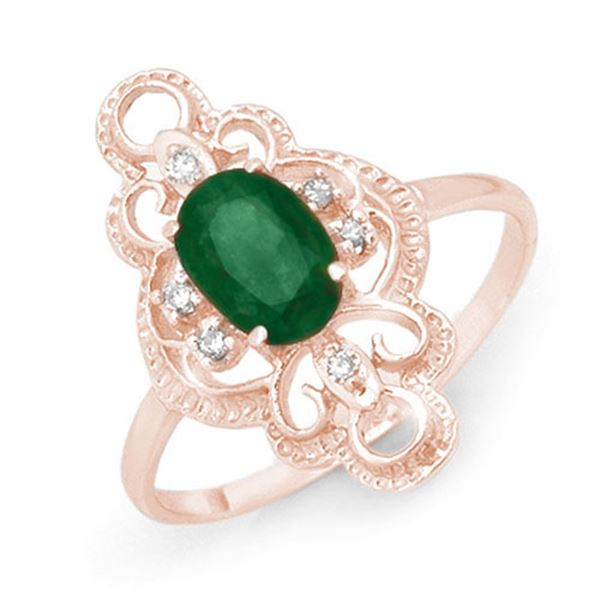 0.71 ctw Emerald & Diamond Ring 10k Rose Gold - REF-19Y3X
