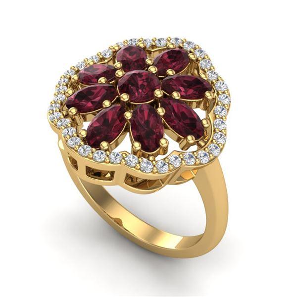3 ctw Garnet & VS/SI Diamond Cluster Designer Ring 10k Yellow Gold - REF-49M3G