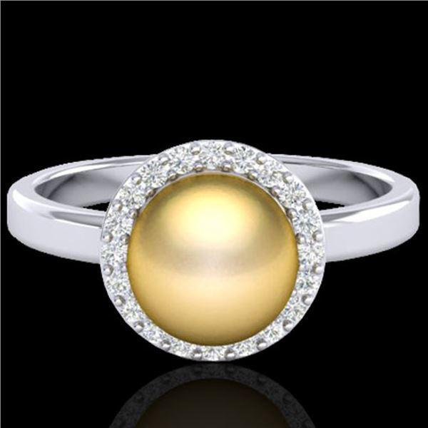 0.25 ctw Micro Pave VS/SI Diamond & Golden Pearl Ring 18k White Gold - REF-41K6Y