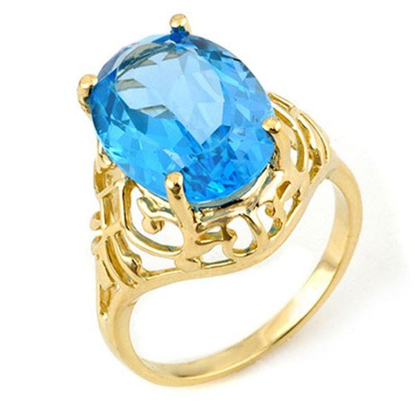 8.0 ctw Blue Topaz Ring 10k Yellow Gold - REF-16X2A