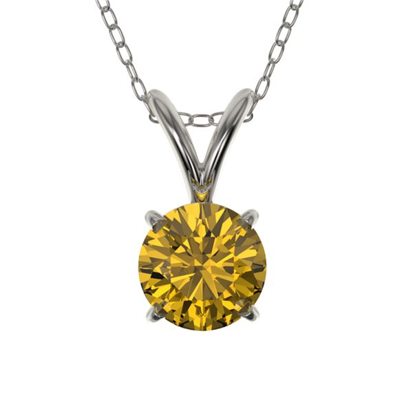 0.50 ctw Certified Intense Yellow Diamond Necklace 10k White Gold - REF-57K8Y