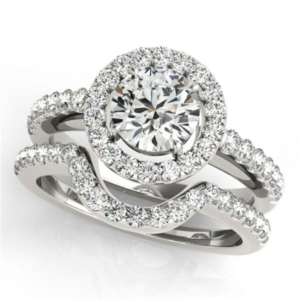 0.96 ctw Certified VS/SI Diamond 2pc Wedding Set Halo 14k White Gold - REF-104Y2X