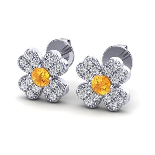 0.54 ctw Citrine & Micro Pave VS/SI Diamond Earrings 18k White Gold - REF-22R2K