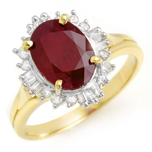 3.66 ctw Ruby & Diamond Ring 14k Yellow Gold - REF-50G8W