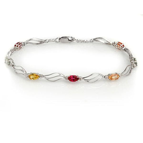 3.02 ctw Multi-Sapphire & Diamond Bracelet 10k White Gold - REF-40A9N