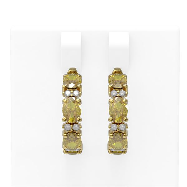 8.57 ctw Canary Citrine & Diamond Earrings 18K Yellow Gold - REF-108A8N