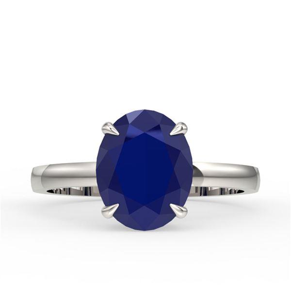 3.50 ctw Sapphire Designer Solitaire Ring 18k White Gold - REF-31W4H