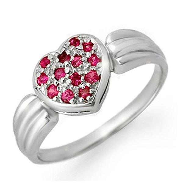 0.40 ctw Pink Sapphire Ring 18k White Gold - REF-28R5K