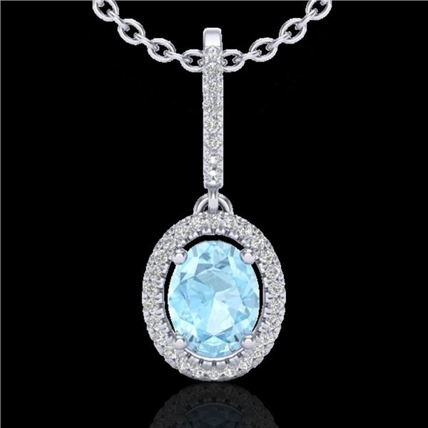 1.75 ctw Aquamarine & Micro VS/SI Diamond Necklace Halo 18k White Gold - REF-50R3K