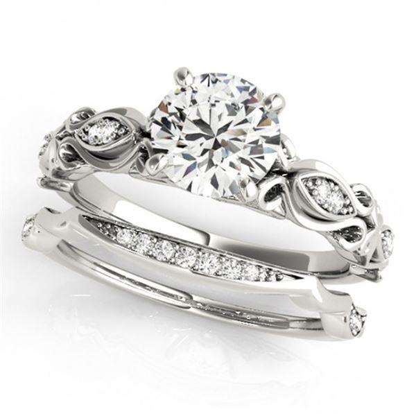 0.71 ctw Certified VS/SI Diamond 2pc Wedding Set Antique 14k White Gold - REF-100H3R