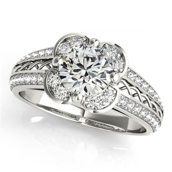 0.85 ctw Certified VS/SI Diamond Halo Ring 18k White Gold - REF-105A3N