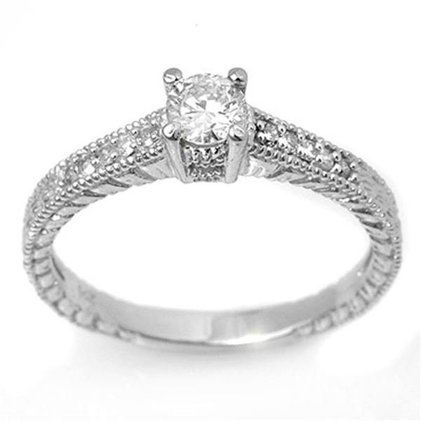 0.70 ctw Certified VS/SI Diamond Solitaire Ring 18k White Gold - REF-91A8N