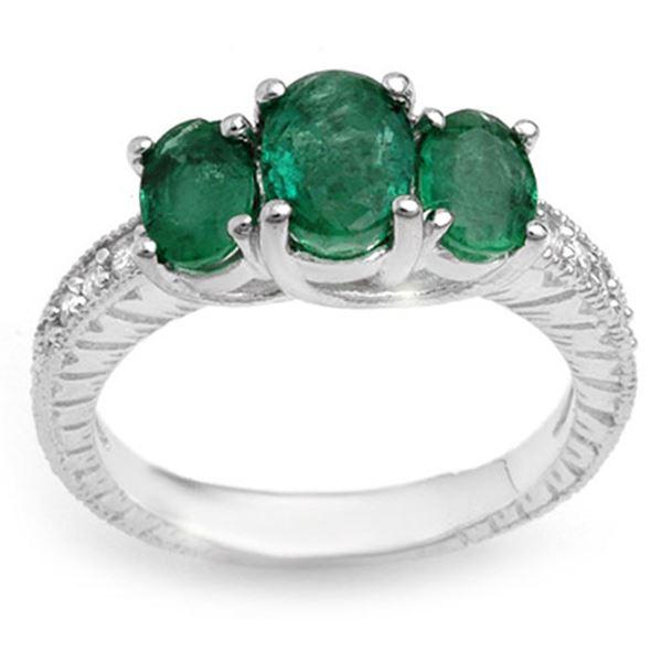 2.50 ctw Emerald & Diamond Ring 10k White Gold - REF-38X2A