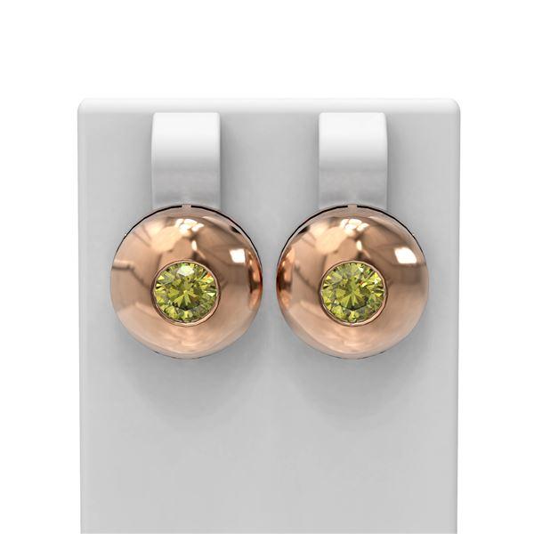 1.04 ctw Fancy Yellow Diamond Earrings 18K Rose Gold - REF-187N3F