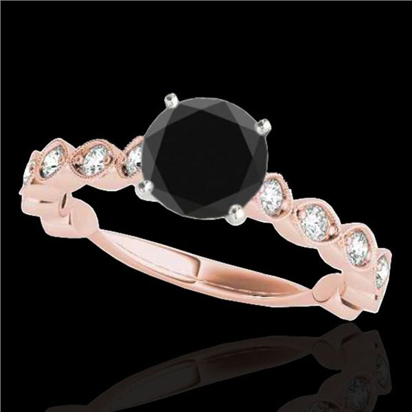 1.5 ctw Certified VS Black Diamond Solitaire Ring 10k Rose Gold - REF-53Y2X
