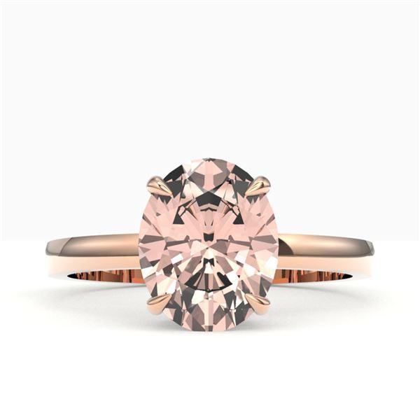 2.75 ctw Morganite Designer Ring 14k Rose Gold - REF-39N5F
