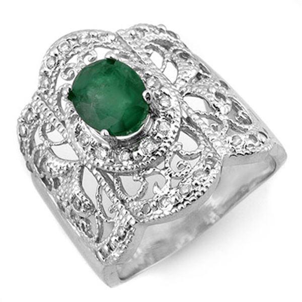 2.15 ctw Emerald & Diamond Ring 10k White Gold - REF-48A3N