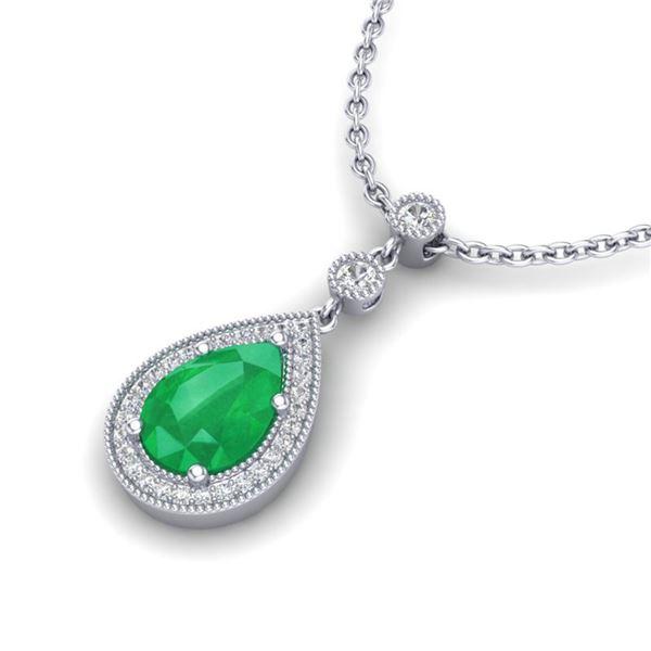 2.75 ctw Emerald & Micro Pave VS/SI Diamond Necklace 18k White Gold - REF-44R4K